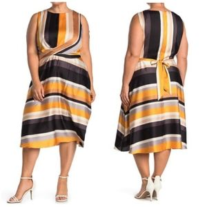 London Times Striped Sleeveless  Fit & Flare Dress